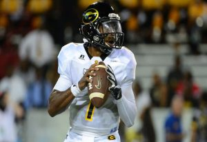 TUCSON, AZ - SEPTEMBER 10: Quarterback DeVante Kincade #1 of the Grambling State Tigers looks to make a pass in the first half of the game Arizona Wildcats at Arizona Stadium on September 10, 2016 in Tucson, Arizona. (Photo by Jennifer Stewart/Getty Images)